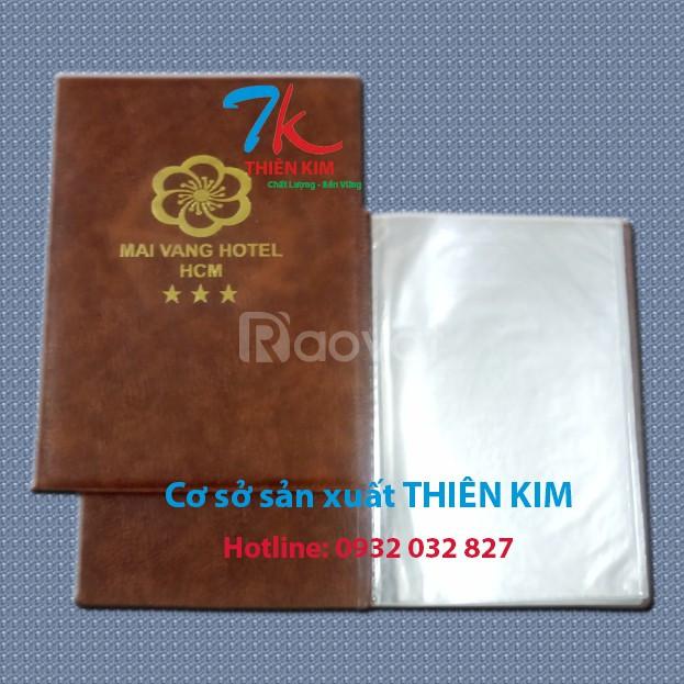 Nhận gia công bìa menu da, bìa đựng hồ sơ da, nơi sản xuất bìa da
