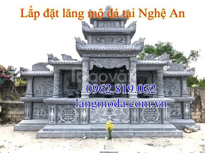 Lắp đặt lăng mộ đá xanh đẹp tại Nghệ An