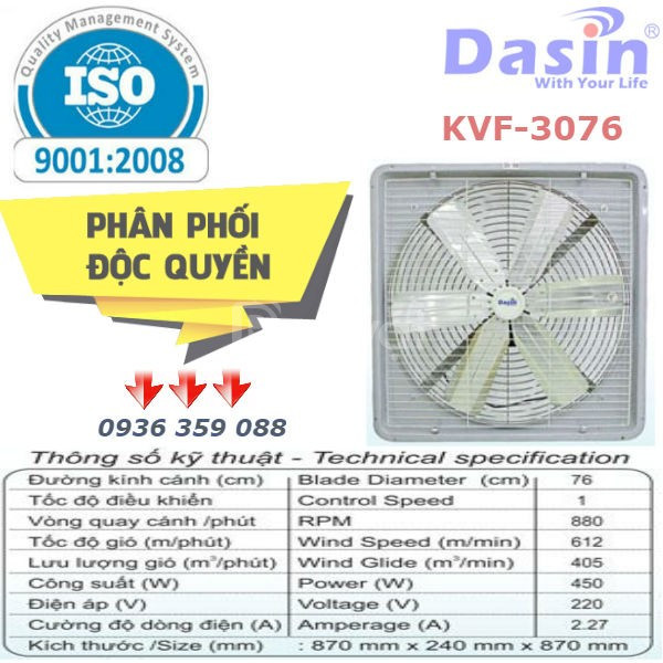 Báo giá quạt thông gió công nghiệp dasin kvf-2460