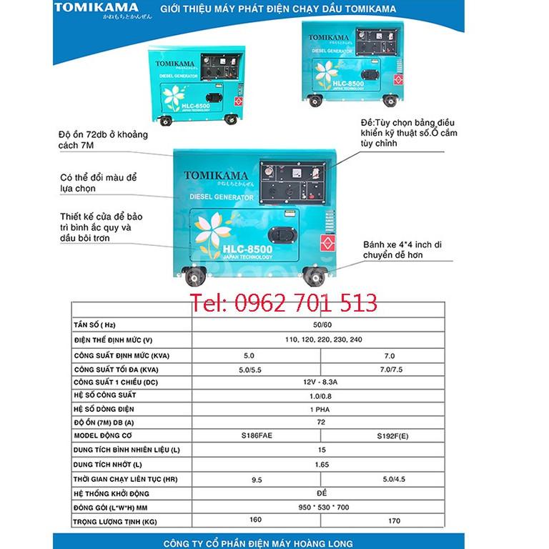 Máy phát điện chạy dầu Tomikama HLC-8500