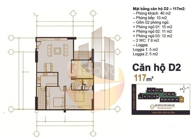 Cần tiền bán gấp căn số 15, chung cư MHDI 60 Hoàng Quốc Việt, 117m2, 3 (ảnh 3)