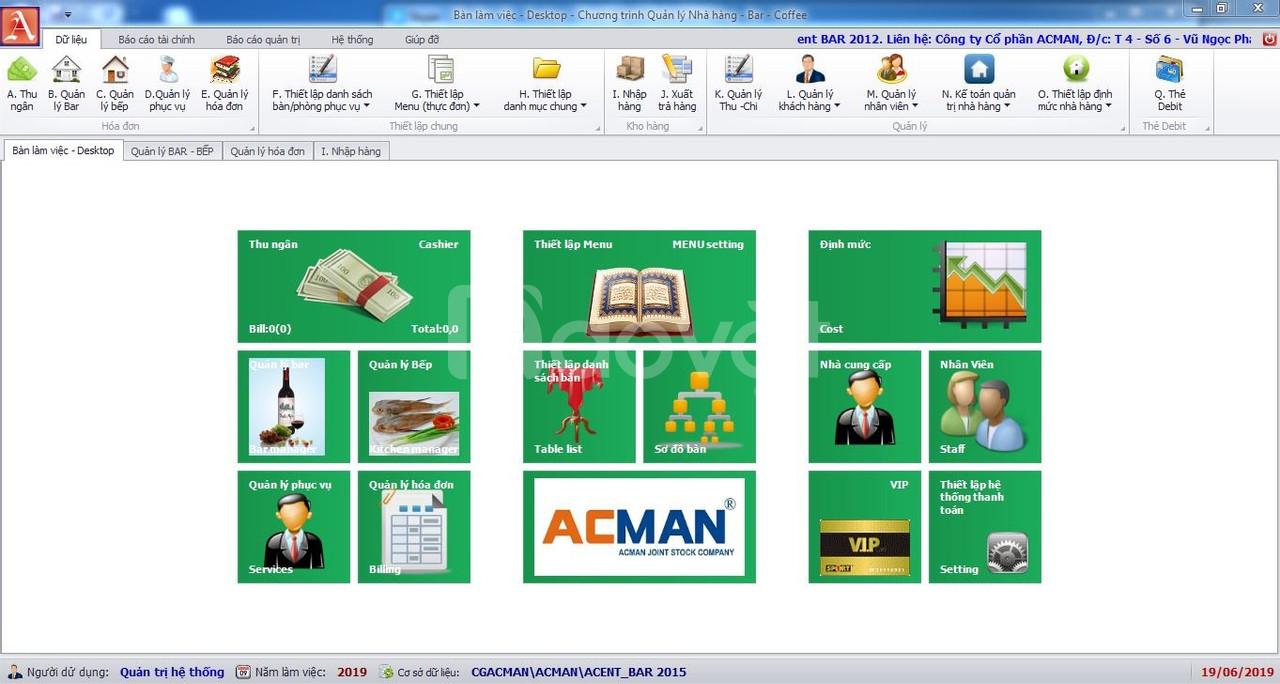 Phần mềm nhà hàng, phần mềm Bar