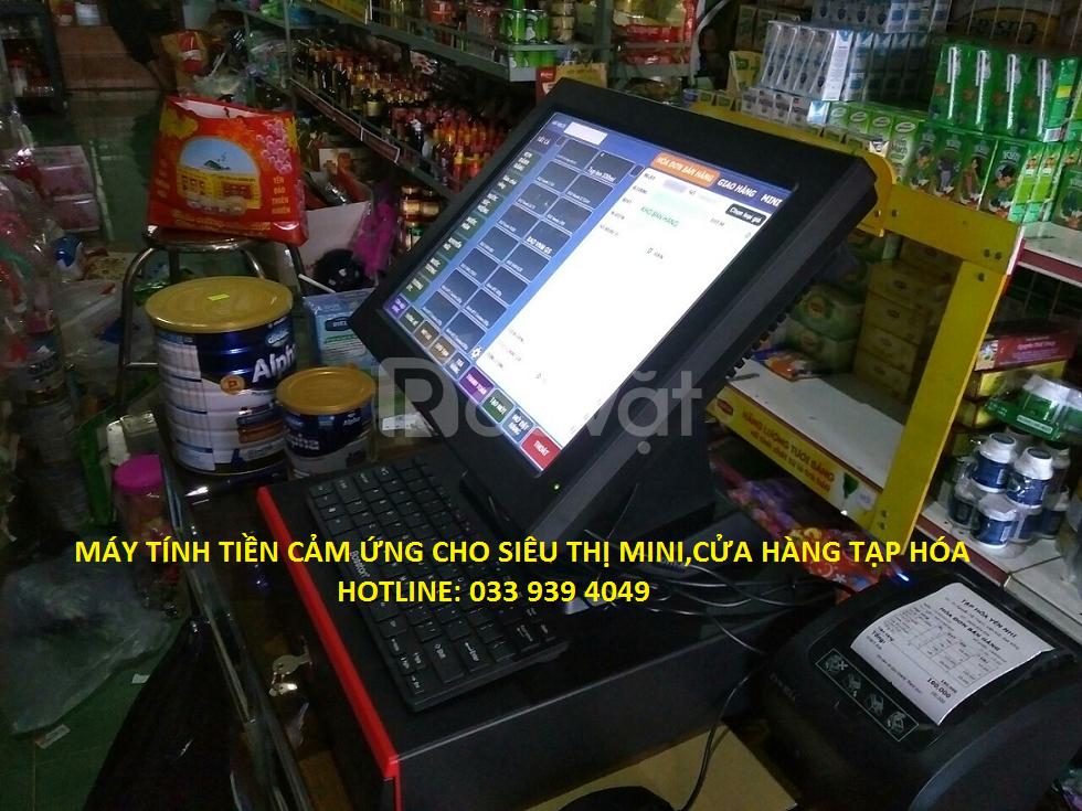 Lắp đặt trọn bộ máy tính tiền dùng cho siêu thị mini bỉm sữa, tạp hóa