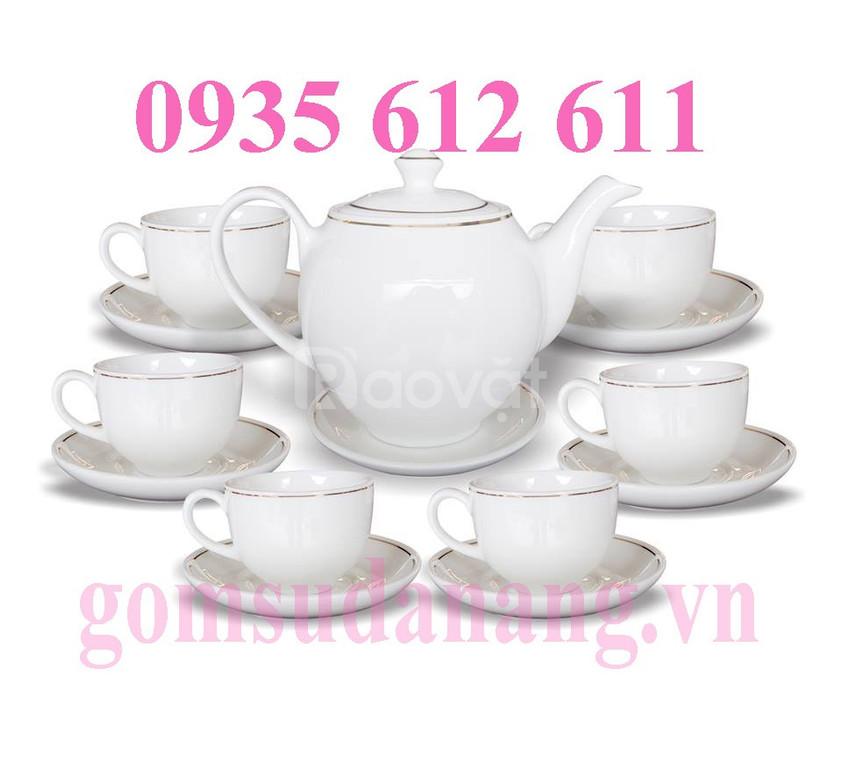 In gốm sứ, bộ ấm trà quà tặng tại Huế, xưởng in gốm sứ