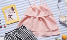 Set bộ áo 2 dây + quần caro cho bé gái