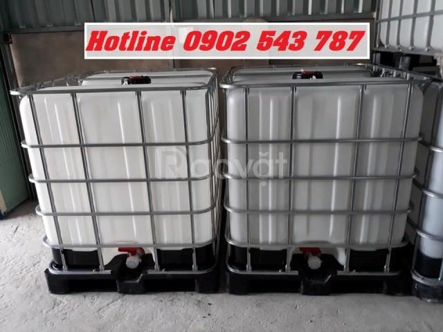 Thanh lý Bồn nhựa cũ đựng hoá chất 1000 lít, thùng nhựa ibc 1000 lít.