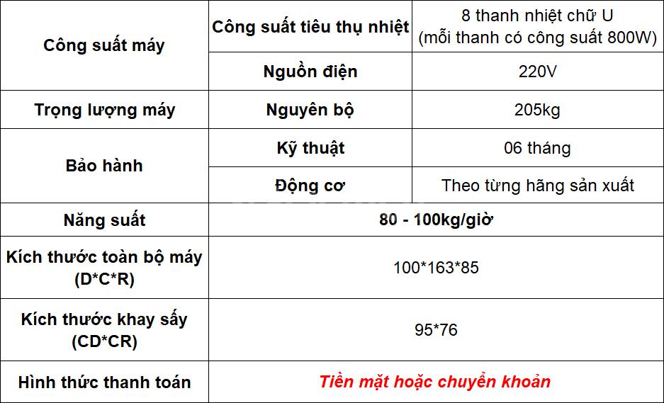 Máy sấy thực phẩm đa năng/ Năng suất 80 - 100kg/mẻ