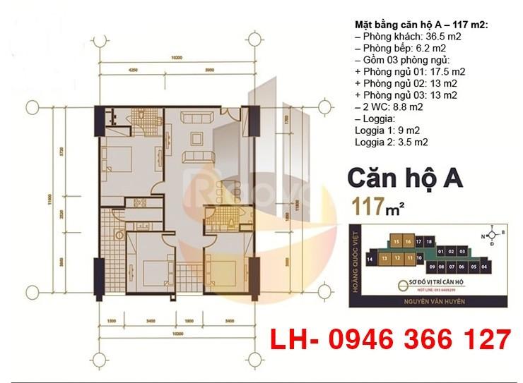 Chính chủ bán DT 117m2, 3PN, bc Đông, chung cư MHDI 60 Hoàng Quốc Việt