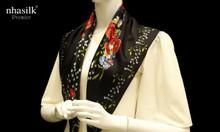 Khăn vuông lụa tơ tằm họa tiết Trưng Nữ Vương - Nhasilk
