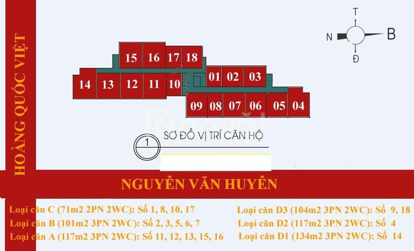 Chính chủ cần bán căn 2pn, 70m2, Tòa 60 Hoàng Quốc Việt, view thoáng