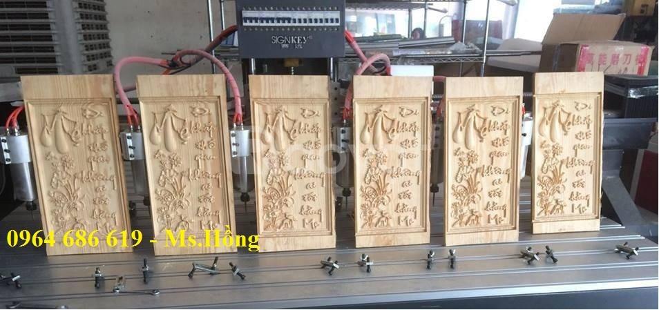 Máy đục gỗ 6 đầu, máy cnc đục tranh 6 đầu năng suất