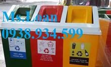 Thùng rác nhựa 3 ngăn 180 lít,thùng phân loại rác 3 ngăn 3 màu