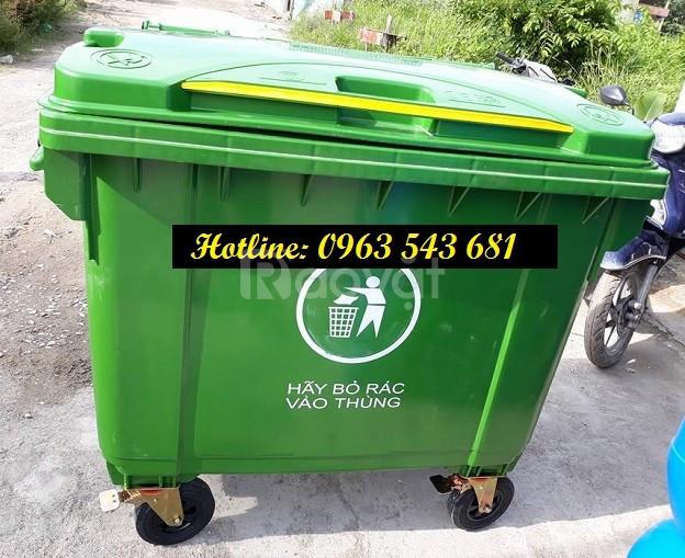Xe thu gom rác 660 lít 4 bánh xe, xe đẩy rác 1000 lít 4 bánh xe