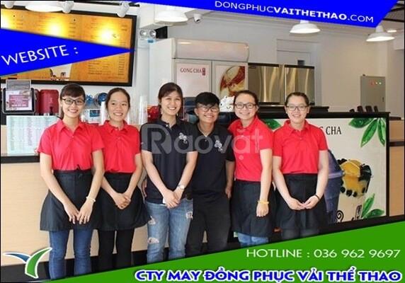 Cơ sở may áo thun đồng phục quán trà sữa vải thun mè