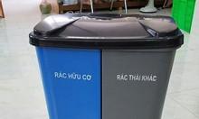 Thùng phân loại rác 2 ngăn tại màu, thùng rác đạp chân màu xám
