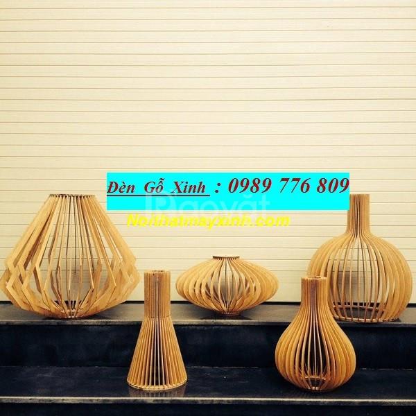 Đèn gỗ treo trần, đèn gỗ trang trí phòng khách
