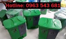 Thùng phân loại rác 2 ngăn, thùng rác đạp chân màu xám