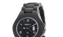 Đồng hồ đeo tay mặt tròn vỏ và dây bằng gỗ mun