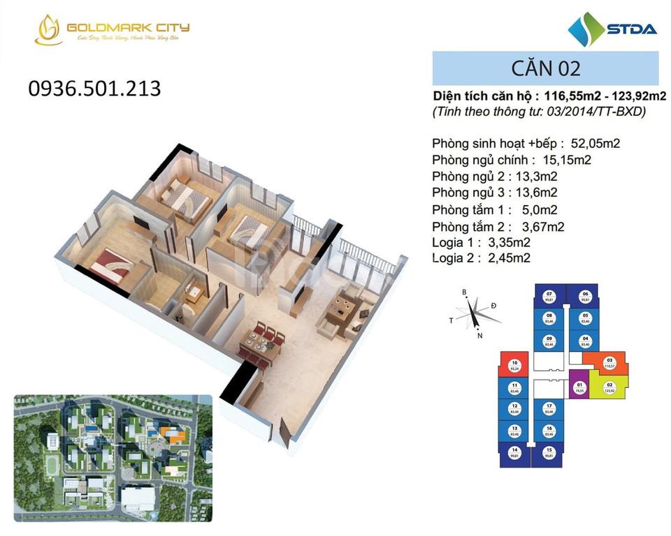 Căn hộ 3PN số 02, tòa R2 tầng trung đẹp Goldmark City, nội thất CĐT