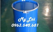 Phuy sắt 220 lít 2 nắp đựng hóa chất, phuy sắt tráng men 220l