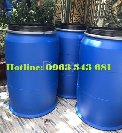 Phuy nhựa 220 lít nắp kiềng sắt, phuy nhựa 220 lít đựng thực phẩm