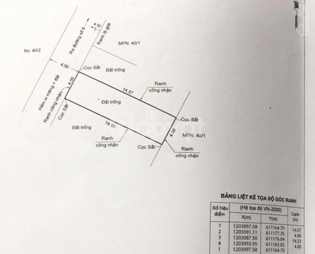Đất đường số 6, Linh Xuân, sổ hồng riêng, 60m2 (4*15m)