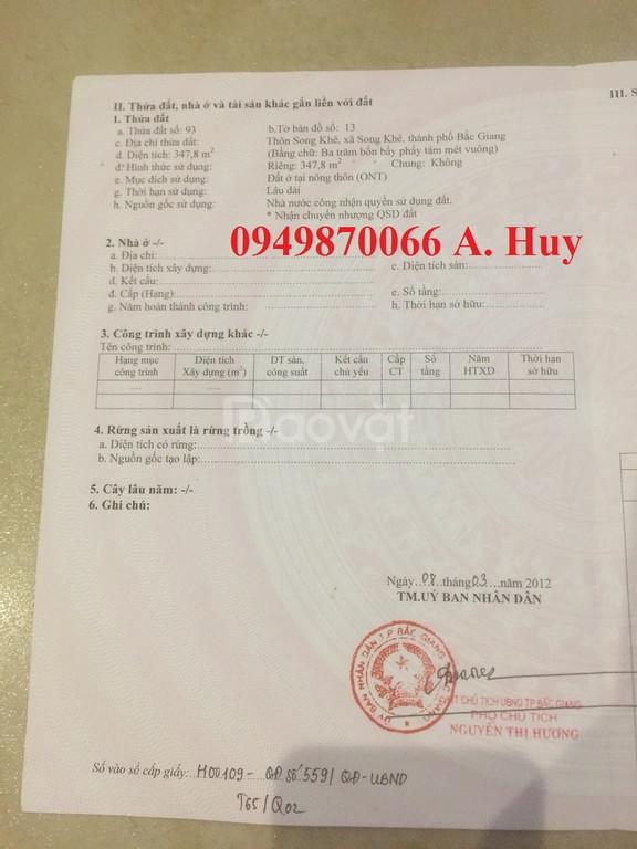 Đất 4,5 x24 Song Khê - TP Bắc Giang