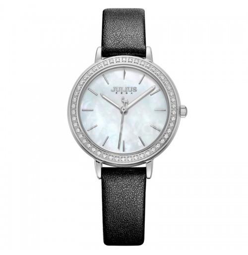 Đồng hồ nữ Julius Hàn Quốc viền đính hạt JA-1036 dây da