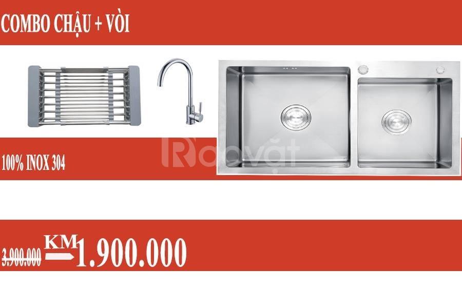 Chậu rửa chén inox 304 ( chuẩn 100%) | combo chậu rửa + vòi chậu