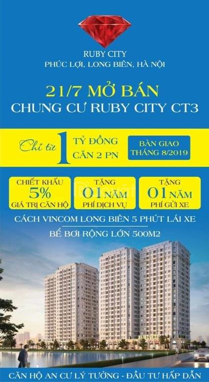 Chính thức bàn giao căn hộ dự án Ruby CT3 Phúc Lợi giá 900tr
