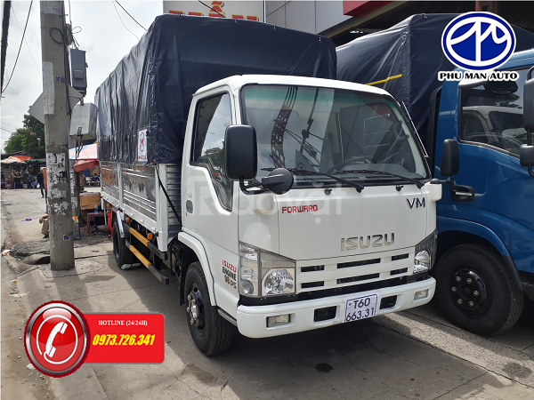 Xe tải ISUZU 3t49 thùng 4m4 hỗ trợ trả góp.