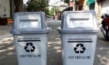Thùng rác nắp lật màu xám 60 lít, thùng rác màu xám 60 lít