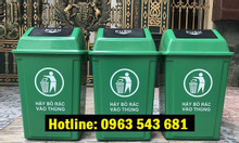 Thùng rác y tế nắp lật màu xanh, thùng rác nắp lật màu xám 60 lit
