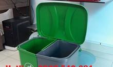 Thùng rác chia 2 ngăn 40 lít, thùng phân loại rác 2 ngăn 40 lít
