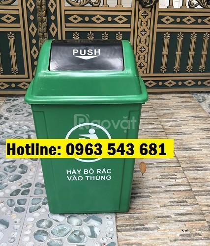 Thùng rác y tế nắp lật màu xám 60 lít, thùng rác nắp lật màu xám 60lít