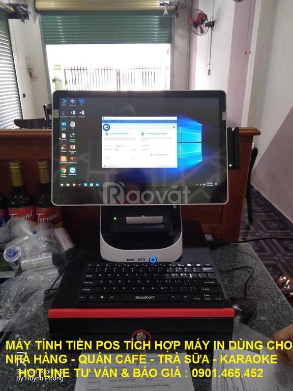 Mẫu máy pos tính tiền tích hợp máy in bill hiện đại cho quán trà chanh