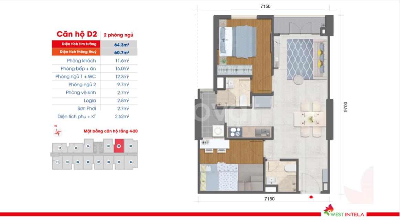 Cần bán căn hộ quận 8 2pn, 2wc