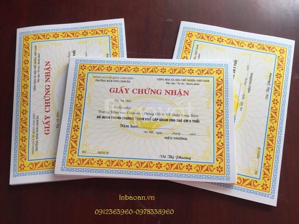 In giấy chứng nhận mầm non, in giấy khen Bác Hồ, khung giấy khen