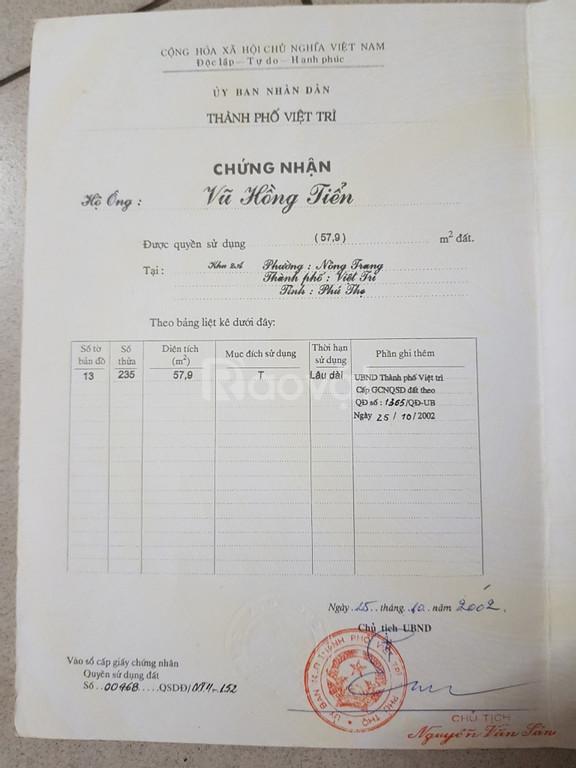 Cần tiền bán gấp nhà tại Việt Trì