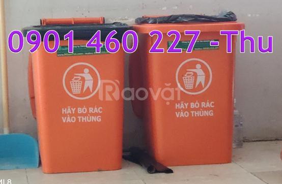 Thùng rác y tế 60 lít không bánh xe màu trắng, thùng rác 60 lít