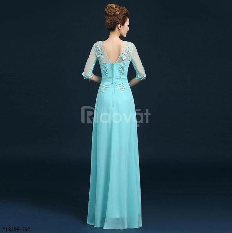Đầm dạ hội kết hạt tay lỡ sang trọng