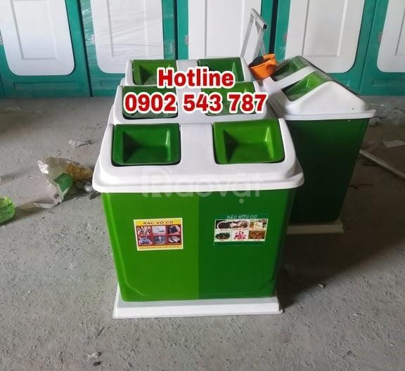 Thùng phân loại rác 2 ngăn, thùng rác nhựa 2 ngăn 2 màu nhựa composite