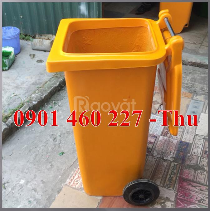 Thùng rác nhựa 120l, thùng đựng rác 2 bánh xe 240 lít giá rẻ quận 10