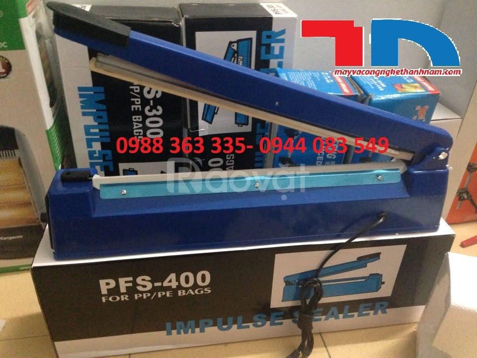 Máy hàn mép túi nilon PFS400, Máy dán túi nilon dập tay giá rẻ