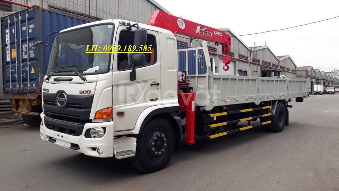 Xe cẩu thùng 8 tấn hino 500 FG lắp cẩu Unic 5 tấn 5 khúc URV555K
