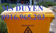 Xe gom rác y tế 660l màu vàng