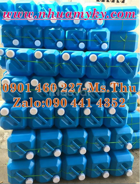 Can nhựa 25 lít màu xanh, can đựng hoá chất nhựa HDPE