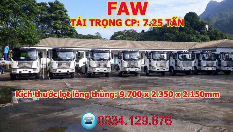 Bán xe tải thùng dài 9m7 Faw 7.25 tấn/7T25/7 tấn 25 thùng dài 9m7