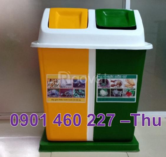 Thùng rác 3 ngăn hình mái nhà,thùng rác 2 ngăn giá bao nhiêu