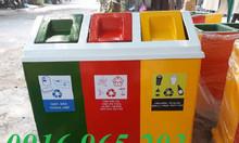 Thùng rác nhựa 3 ngăn công cộng